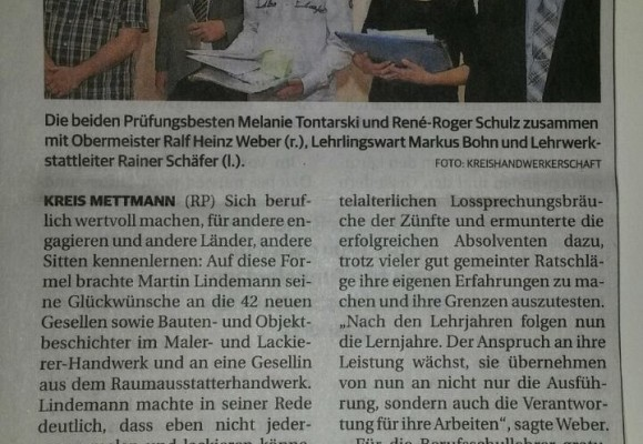 Rheinische Post - Mettmann - 15. September 2014